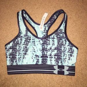 Light blue and navy patterned sports bra